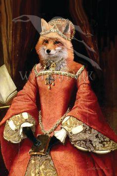 Elizabethan Fox Print by monsondesigns Skeleton Flower, Fox Print, Red Fox, Surreal Art, Fashion Art, Funny Animals, Art Photography, Princess Zelda, Foxes