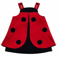 Florence Eiseman Baby / Toddler Girls Red / Navy Blue Corduroy Novelty Ladybug Dress