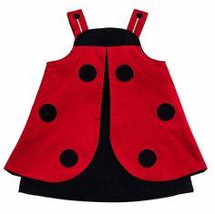 Florence Eiseman Baby / Toddler Girls Red / Navy Blue Corduroy Novelty Ladybug Dress