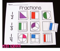 Fractions in First Grade: Cut and paste fraction shapes - fun practice. Cool ideas but not free! Teaching Fractions, Fractions Worksheets, Math Fractions, Teaching Math, Dividing Fractions, Equivalent Fractions, 1st Grade Math, Kindergarten Math, First Grade