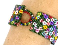 Field of Flowers by Sue Arrighi Peyote Bracelet