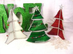 3D Christmas Trees Stained Glass