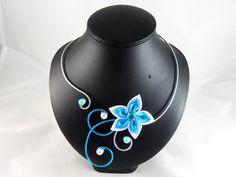 Iris- Collier fleur turquoise et blanche : Collier par creation-ninie