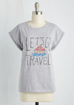 Wide Ocean Spaces Tee. The horizon is calling and this cotton tee calls on you to explore new destinations. #grey #modcloth