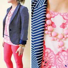 Seen at the Pink Palace: Lilly Pulitzer Spring '13- Leighton Blazer in True Navy Socializing Stripe and Iona Shell Engineered Top