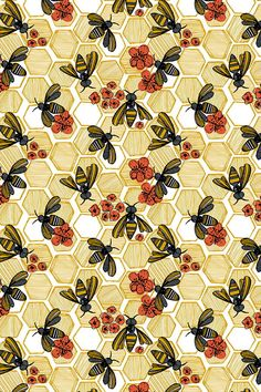 Honey Bee Hexagon by tiffanyheiger - Hand illustrated honey bees and honeycombs on fabric, wallpaper, and gift wrap.  Geometric honey pods in vintage tones with orange flowers.  The perfect bee themed pattern for making clutch bags or wallpapering an accent wall.  Click to see more hand illustrated designs by this indie designer.  #bees #illustrated #design #fabric #wallpaper #sew