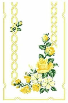 ru / Фото - ***** - celita -- Same in Yellow Cross Stitch Rose, Cross Stitch Borders, Cross Stitch Flowers, Cross Stitch Designs, Cross Stitching, Art Nouveau Pattern, Hand Embroidery Flowers, Cross Stitch Pictures, Quilt Border