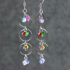 Colorful dangling hoop earrings Bridesmaids gifts Free US