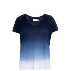 VELVET BY GRAHAM & SPENCER Emerald ombr? jersey T-shirt ($155) ❤ liked on Polyvore featuring tops, t-shirts, shirts, blusas, blue, blue jersey, blue v neck shirt, slouchy t shirt, blue v neck t shirt and v-neck tee
