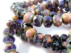 25 Czech Rondelle Pink Purple Opaque Transparent Picasso Beads Mix 7x5mm - 25 pc - G6036-PPP25 by allearringsandsuppli on Etsy