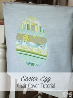 Easter Egg Chair Back Covers | Full photo sewing tutorial, easy project to add a lot to your kitchen this spring! handmadeintheheartland.com