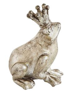 Silver Resin Frog with Crown