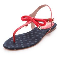 RED Valentino Nautical Flat Sandals ($295) ❤ liked on Polyvore