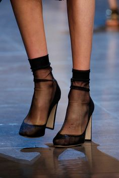 Dolce & Gabbana Spring 2016 Ready-to-Wear Accessories Photos - Vogue Follow Insta, Mode Shoes, Fashion Gone Rouge, Socks And Heels, Sheer Socks, Mesh Socks, Pink Socks, Black Socks, Shoe Boots
