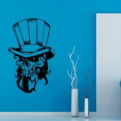 Happy Halloween Wall Decals Skull With Hat Skeleton Vinyl Decal Sticker Interior Design Living Room Art Boy Kids Nursery Room Decor by WallDecalswithLove on Etsy Halloween Wall Decor, Halloween Skull, Happy Halloween, Vinyl Art, Vinyl Wall Decals, Wall Murals, Wall Art, Room Stickers, Nursery Room Decor