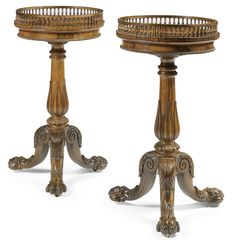 A pair of William IV rosewood jardinières, attributed to Gillows circa 1830 each galleried top with a push-button to the underside and opening to reveal a baize lined disc concealing a well containing associated brass liners