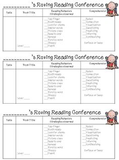 First Grade Wow: Reading/Writing Roving Conferences Reading Record, Guided Reading, Teaching Reading, Teaching Phonics, Teaching Ideas, Reading Assessment, Reading Intervention, Readers Workshop, Writing Workshop