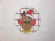 $9.95            Christmas Santa Owl Ornament Handpainted Needlepoint Canvas