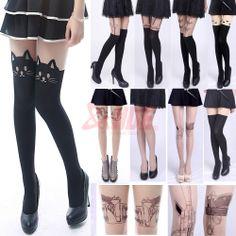 Sexy Fashion Pantyhose Design Pattern Printed Tattoo Stockings Tights Leggings Loving the Black Cats!!