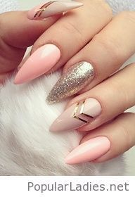 Amazing stiletto nails design with glitter and more