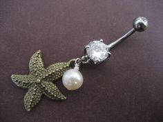 Bronze Starfish Belly Button Ring Dangly Star by Azeetadesigns, $12.00