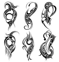 Set of tribal tattoo vector Rose Tattoos, Leg Tattoos, Body Art Tattoos, Tattoos For Guys, Maori Tattoos, Tribal Images, Tribal Art, Tattoo Son, Back Tattoo