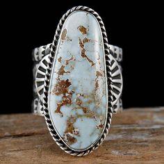 """SUNSHINE REEVES Navajo """"WHITE BUFFALO"""" Turquoise Ring -*-*-bin336"""