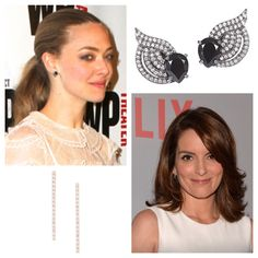Look Who's Wearing #GrazielaGems #AmandaSeyfried​ is in our Black & White Wing Earrings and #TinaFey​ in our Baby Dash Earrings in Rose. #jewelry #fashion #earrings #designer