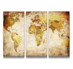 Canvas art print vintage world map canvas print x large art youkuart canvas prints map art 3 panels world map wall a https gumiabroncs Image collections