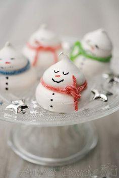 #Christmas #snowman #meringue frome Amuses-bouches