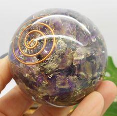 Orgone Amethyst Crystal Sphere Reiki Chakra Healing 59 MM