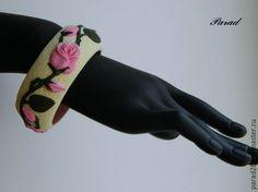 """Купить Браслет """"Розовая роза"""" из полимерной глины. Готовый со скидкой 30% - розовый, роза"""
