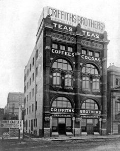 Griffiths Tea Warehouse at Flinders St,Melbourne in Victoria (year unknown). Arch Architecture, Australian Architecture, Australia Day, Melbourne Australia, Olympic Venues, Melbourne Suburbs, Melbourne Victoria, Old Photos, Vintage Photos