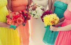 mismatched bridesmaids bouquets and dresses - perfect for a rainbow wedding. Bright Bridesmaid Dresses, Always A Bridesmaid, Rainbow Bridesmaids, Bridesmaid Bouquets, Wedding Bouquets, Pastel Dresses, Bridesmaid Duties, Wedding Bridesmaids, Wedding Dresses