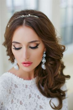 half up wavy long wedding hairstyle with pearl headpiece / http://www.deerpearlflowers.com/20-gorgeous-half-up-wedding-hairstyle-ideas/
