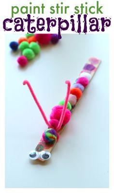 Use up those extra paint stir sticks and make a fun caterpillar craft!