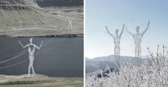 Choi and Shine want to transform how utility structures are built. Their Land of Giants™ design, proposed in 2008, sees electrical pylons as human-shaped statues decorating the Icelandic countryside. Architects Jin Choi and Thomas Shine are the minds behind this skunkworks, experimental design studio.