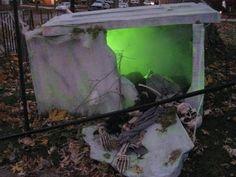 broken tomb with eerie green lighting