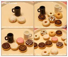 Miniature donuts and cup tutorial: Fazer café e rosquinhas (cor de barro POR Barro Sirius): Naver Blog