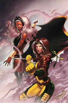 Storm and Rogue Marvel X-Men Marvel Xmen, Marvel Comics Art, Marvel Heroes, Rogue Comics, Rogue Xmen, Comic Book Characters, Marvel Characters, Comic Character, Comic Books