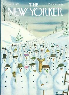 1972 New Yorker Magazine Cover Only Charles Addams Art Fun Snowmen on Hill Theme The New Yorker, New Yorker Covers, Vintage Illustration Art, Magazine Illustration, Christmas Illustration, Christmas Cover, Christmas Art, Charles Addams, Magazine Art