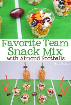 My Favorite Team Snack Mix Recipe for a Football Party - Make a sweet and salty snack mix with this favorite team snack mix that includes Football Almonds. It's hands-on fun for kids of all ages. It's the best snack mix for your football party. #football #team #snackmix #snacks #footballparty #SuperBowl
