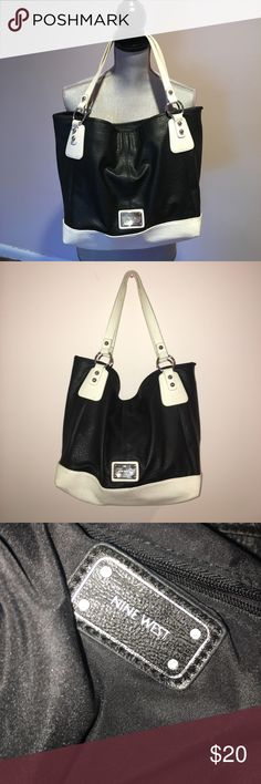 Nine West purse  Very roomy, black and white with silver hardware. One button closure and the inside has a pocket with zipper closure. In guc. Made of quality man made materials. Smoke and pet free home. Nine West Bags Shoulder Bags