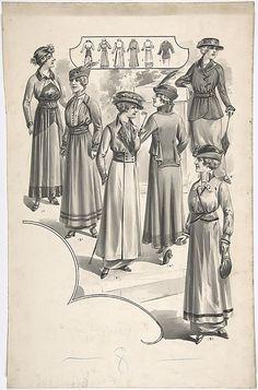 Designs for Six Women's Dresses, attr. A. Foa, ca. 1914; MMA 67.566.17a