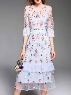 Shop Blue Sheer Flowers Gauze Embroidered Long Dress online. SheIn offers Blue…