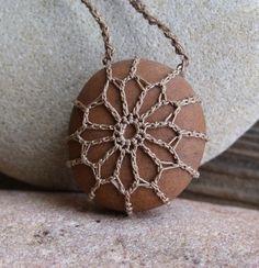 Crochet Stone . Lace Stone . River Rock by TheTreeFolkHollow, $20.00