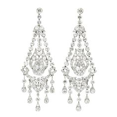 A Pair Of Art Deco Chandelier Diamond Earrings Each Designed With Flexible Collets Trefoil Motifs