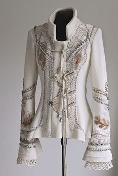 / white beauty / embroidered white jacket by åsa örterström / Beautiful Outfits, Cool Outfits, Boho Fashion, Womens Fashion, Fashion Design, Mode Hippie, Altered Couture, Mode Inspiration, Diy Clothes