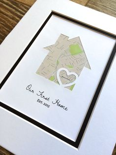 Our First Home - Personalized Home Map Matted Gift- My First Home Gift- New House Housewarming Gift- Closing Gift Realtor Personalized Housewarming Gifts, Housewarming Party, First Home Gifts, New Home Gifts, Wedding Vow Art, New Home Cards, Real Estate Gifts, House Map, Realtor Gifts