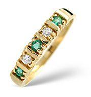The Diamond Store.co.uk Emerald and 0.08CT Diamond Ring 9K Yellow Gold Emerald amp